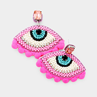 Bead Evil Eye Pom Pom Drop Earrings