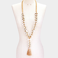 Natural Stone Puka Shell Wood Tassel Long Necklace