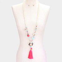 Natural Stone Double Horn Shell Tassel Pom Pom Necklace
