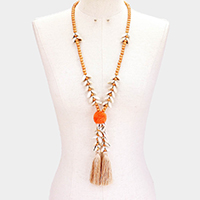 Puka Shell Tassel Pom Pom Wood Long Necklace