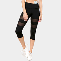 Active Mesh Striped Single Pocket Capri Leggings