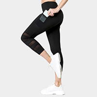 High Rise Mesh Detail Active Leggings with Two Pockets