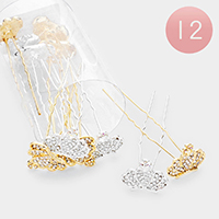 12PCS - Crystal Pave Crown Hair Comb Pins