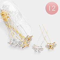 12PCS - Crystal Pave Butterfly Hair Comb Pins