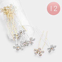 12PCS - Round Crystal Floral Hair Comb Pins