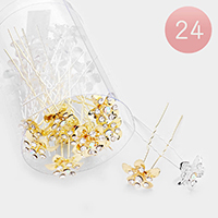 24PCS - Round Crystal Floral Hair Comb Pins