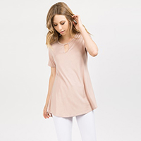 Short Sleeve Key Hole Top