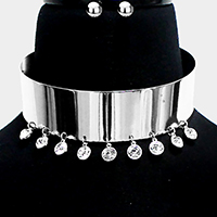 Crystal Round Wide Metal Choker Necklace
