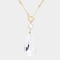 Multi Function Crystal Teardrop Toggle Pendant Necklace