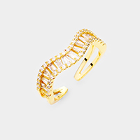 Cubic Zirconia Wavy Adjustable Ring