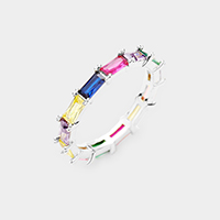 Rhodium Plated Colorful Rainbow CZ Ring