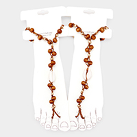 Puka Shell Wood Beaded Toe Ring Anklet