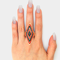 Crystal Pave Color Block  Oversized Rhombus Stretch Ring