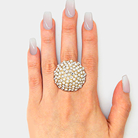 Crystal Pave Pearl Oversized Stretch Ring