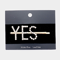 'Yes' Crystal Pave Hair Bobby Pin