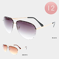 12PCS - Gradient Lens Rimless Metal Frame Sunglasses