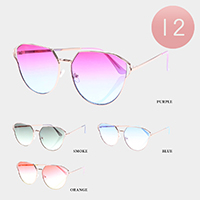 12PCS - Ocean Lens Full Rim Metal Frame Sunglasses
