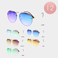 12PCS - Mirror Lens Rimless Metal Frame Sunglasses