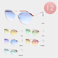 12PCS - Color Mirror Lens Full Rim Metal Frame Sunglasses