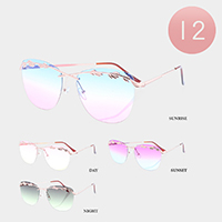 12PCS - Ocean Lens Rimless Metal Frame Sunglasses