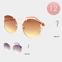 12PCS - Gradient Lens Full Rim Metal Frame Sunglasses