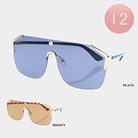 12PCS - Oversized Solid Lens Rimless Metal Frame Sunglasses