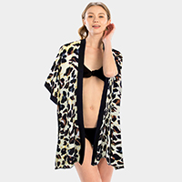 Leopard Print Beach Cover Up Poncho