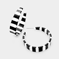 Celluloid Acetate Stripe Hoop Earrings
