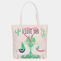 'I Love You' Llama Cactus Heart Print Canvas Tote Bag