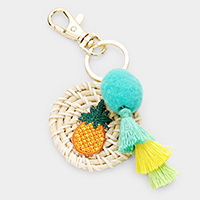 Pineapple Tassel Pom Pom Round Woven Straw Key Chain