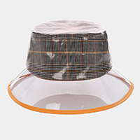 Transparent Check Pattern Bucket Hat