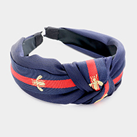 Bee Accented Fabric Knot Color Block Headband