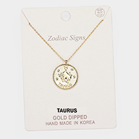 Gold Dipped Zodiac Sign Taurus Pendant Necklace