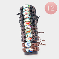 12PCS - Jesus St.Mary Leather Adjustable Bracelets