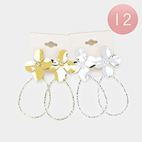 12Pairs - Metal Bloom Flower Open Teardrop Earrings