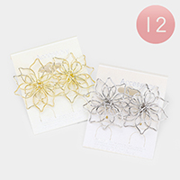 12Pairs - Metal Bloom Flower Earrings
