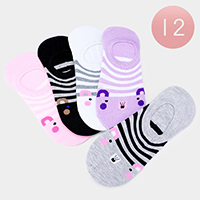 12Pairs - Cute Animal Striped Peep Socks