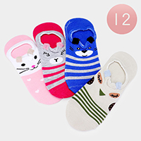 12Pairs - Assorted Cute Animal Striped Peep Socks