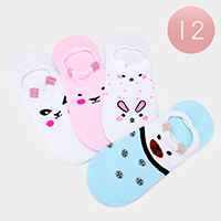 12Pairs - Assorted Cute Animal Peep Socks
