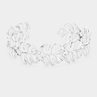 Tropical Leaf Metal Cuff Bracelet