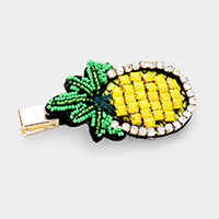 Rhinestone Trim Beaded Pineapple Alligator Clip