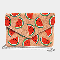 Seed Beaded Watermelon Canvas Clutch Bag