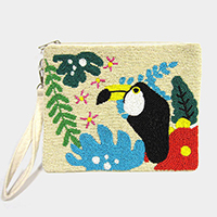 Seed Beaded Toucan Tropical Leaf Canvas Clutch Bag