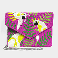 Seed Beaded Parrot Leaf Canvas Clutch Bag