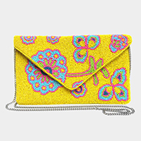 Seed Beaded Floral Leaf Pattern Clutch Bag