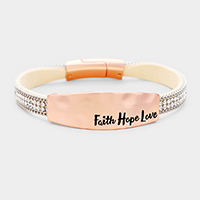 'Faith Hope Love' Crystal Chain Leather Magnetic Bracelet