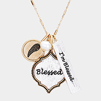 'I'm Blessed' Multi Charm Pendant Necklace