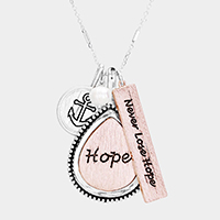'Never Lose Hope' Multi Charm Pendant Necklace