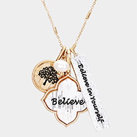 'Believe In Yourself' Multi Charm Pendant Necklace