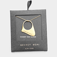 Secret Box _ 14K Gold Dipped 'Courage' Pendant Necklace